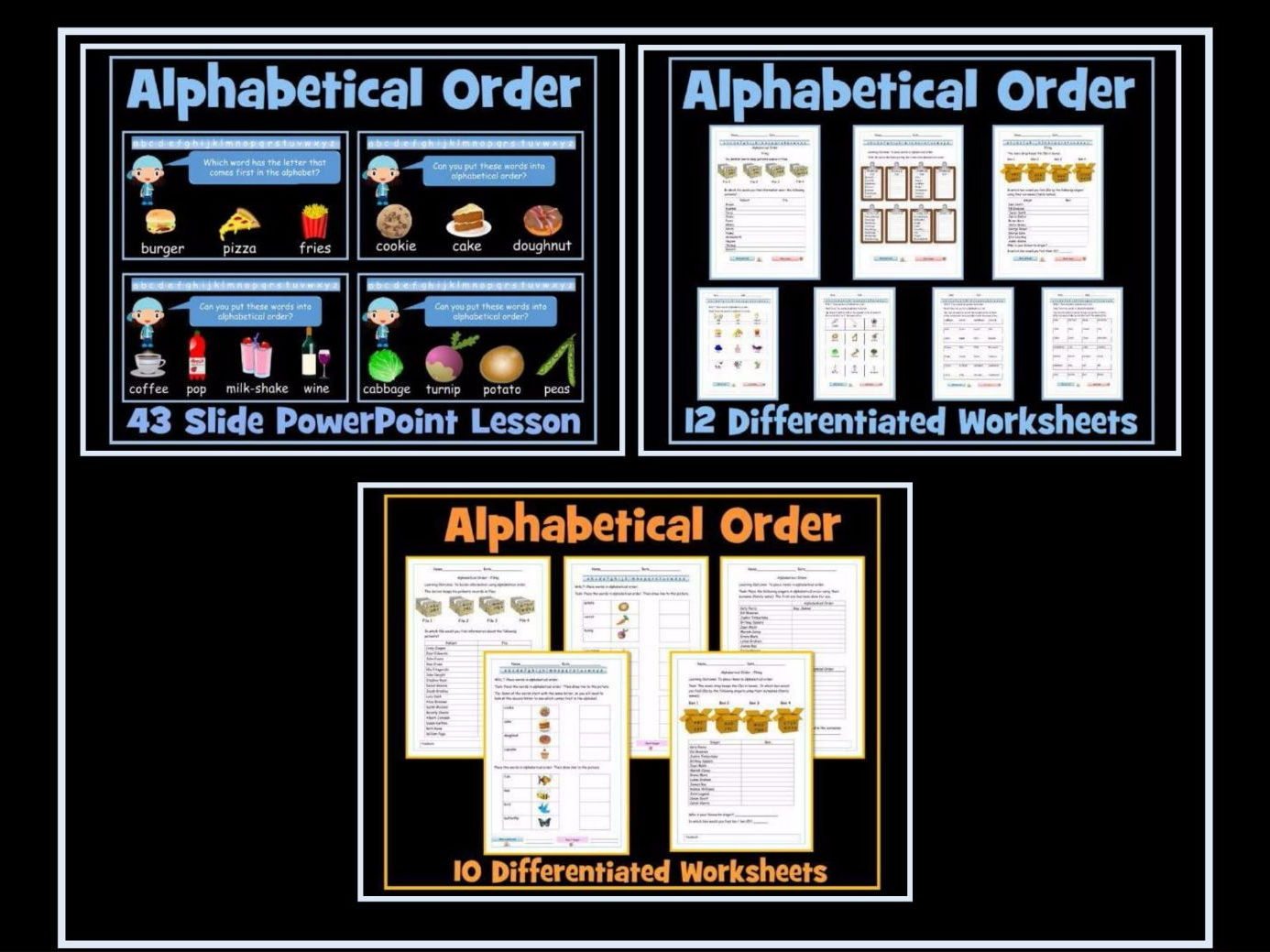 Alphabetical Order - 43 Slide PowerPoint Lesson -  Set of 22 Diffferentiated Worksheets