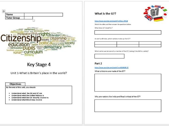 KS4 Citizenship resource on Britain's place in the World