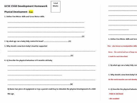 Physical Development - Child Development CACHE Health & Social care Revision-Exam  Question Homework