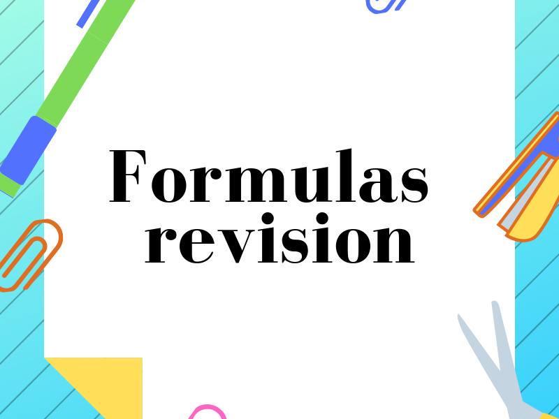 Formulas revision. Substitution. With Answer Key.
