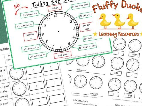 Telling the Time 17 Worksheets including blank PLUS Clock Poster O'clock to every minute
