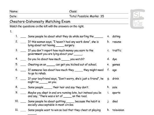 Cheaters-Dishonesty Matching Exam