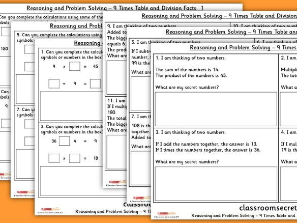 Year 4 9 Times Table and Division Facts WRM  Reasoning and Problem Solving