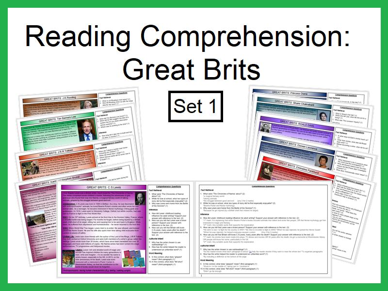 Reading Comprehension:Great Brits (Set1)
