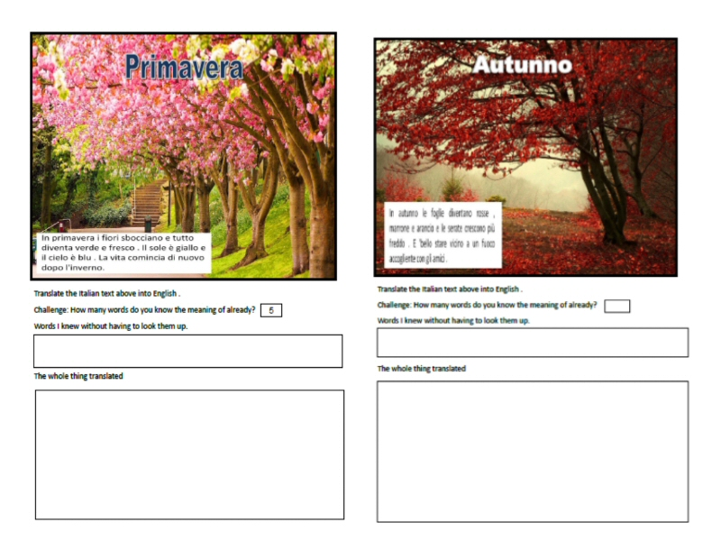 Italian to English Spring and Autumn Translation Worksheets