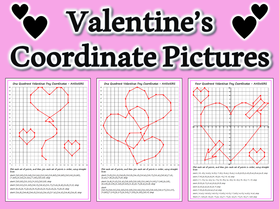 Valentine's Coordinate Picture Worksheets Differentiated & Answers