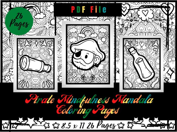Pirate Mandala Colouring Pages For Kids, Treasure, Flag, Ship And Map Printable