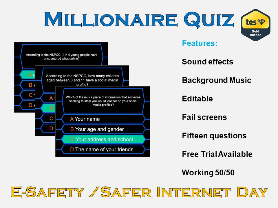 Millionaire Quiz! (e-Safety/Safer Internet Day)