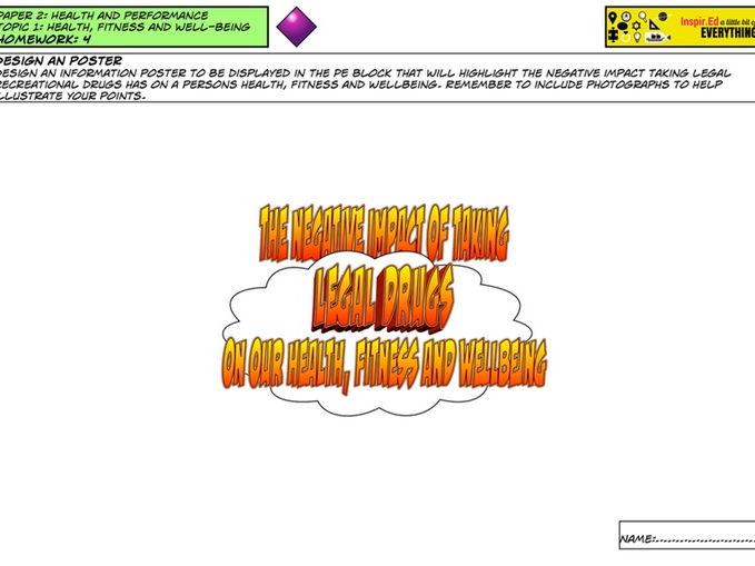 GCSE PE - Mind Map Activity - Legal Drugs