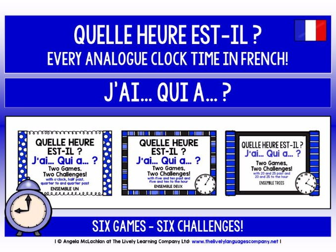 FRENCH TIME - 6 GAMES, 6 CHALLENGES - I HAVE, WHO HAS?