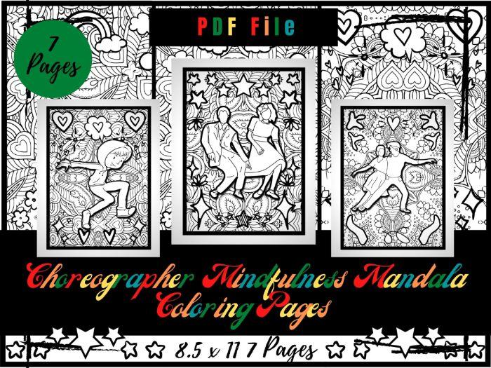 Choreographer Mindfulness Mandala Colouring Pages, Dancing Printable Colouring PDF