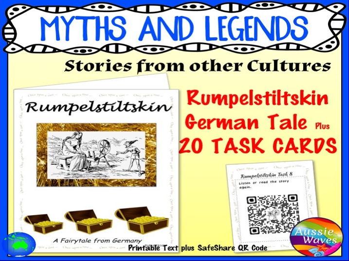 Myth Legend RUMPELSTILTSKIN Text & Task Cards Make Connections & Close Questions