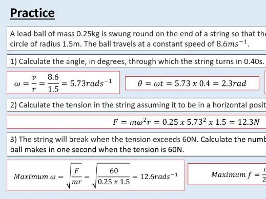 A level Physics (17.2) Centripetal acceleration (Motion in a circle)