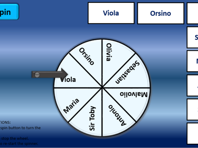 Shakespeare Twelfth Night character spinner revision tool ICT interactive fun differentiation