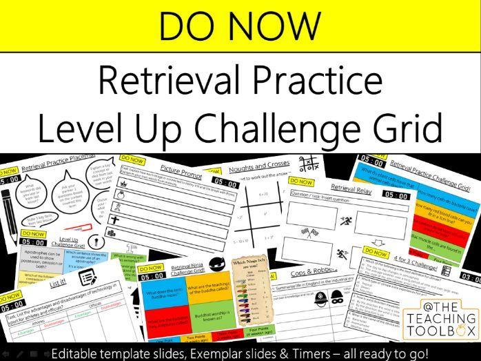 Do Now Retrieval Practice - Level Up Challenge Grid