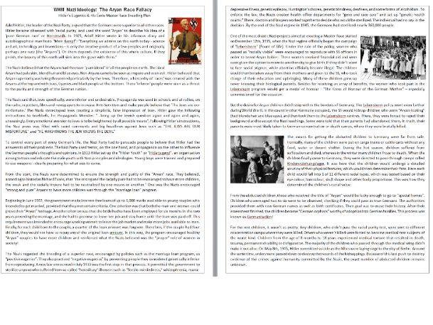 The WWII Aryan Master Race Breeding Plan / Hitler's Eugenics - Reading