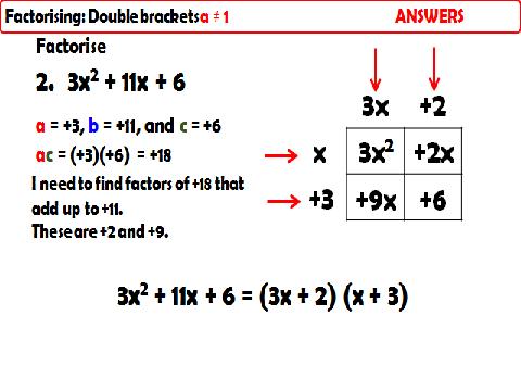 Factorising Quadratics