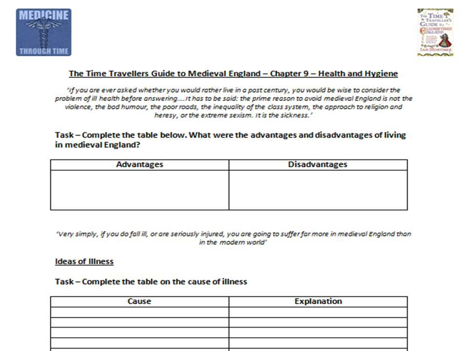 The Time Traveller's Guide to Medieval England - Health and Hygiene- Supporting Worksheet