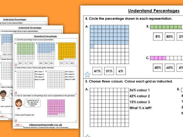 Year 5 Understand Percentages Spring Block 3 Maths Homework Extension