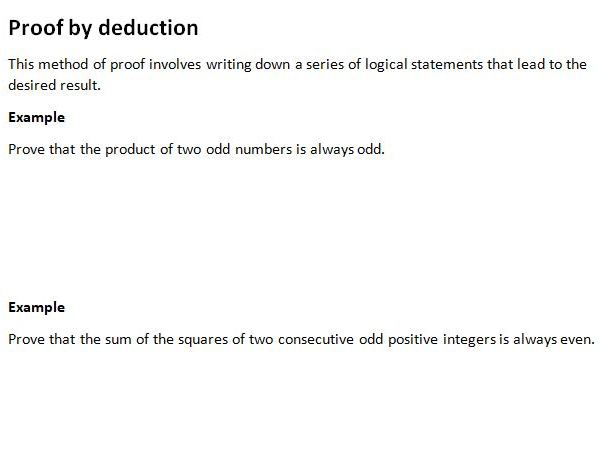 Notes and Examples for Edexcel A Level Maths Year 1 Topic 5: Proof