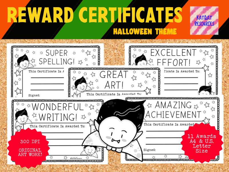 Reward Certificates Cute Vampire Printable Black Line Illustrations - Halloween