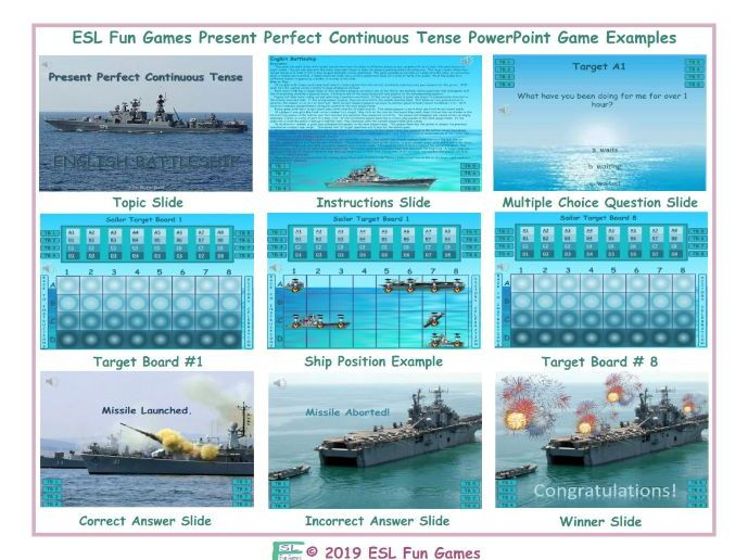 Present Perfect Continuous Tense English Battleship PowerPoint Game