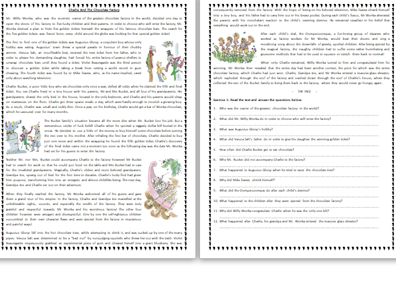 Charlie And The Chocolate Factory - by Roald Dahl - Reading Comprehension Text