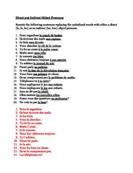 Pronoms compléments Direct and Indirect object pronouns worksheet 1