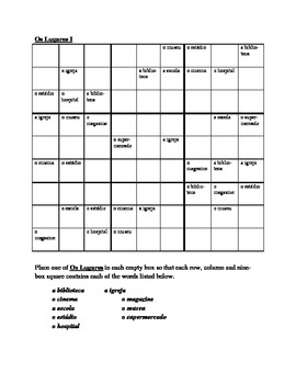 Lugares (Places in Portuguese) Sudoku