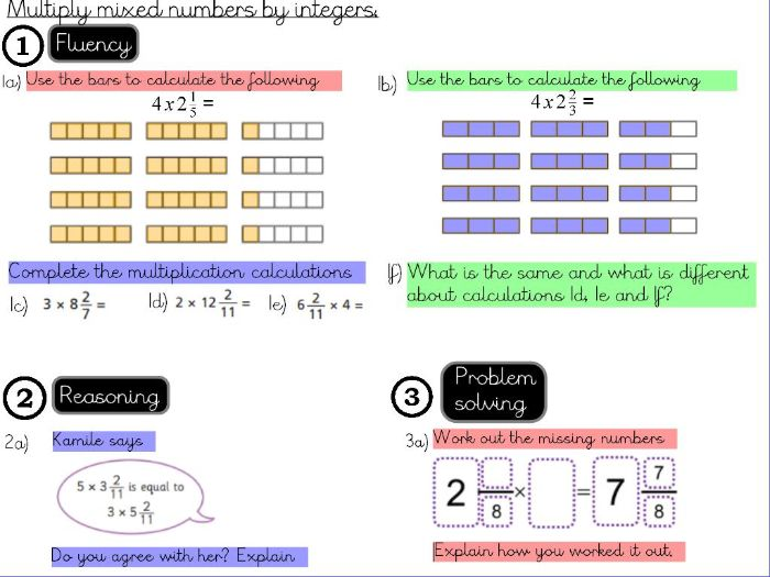 Fractions - Multiply mixed numbers by integers- Year 5