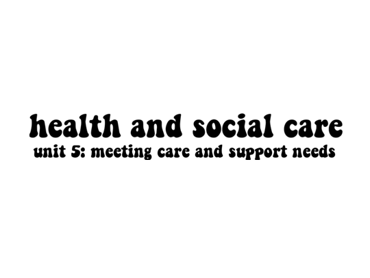 Health and Social Care Unit 5: Meeting Individual Care and Support Needs (Distinction)