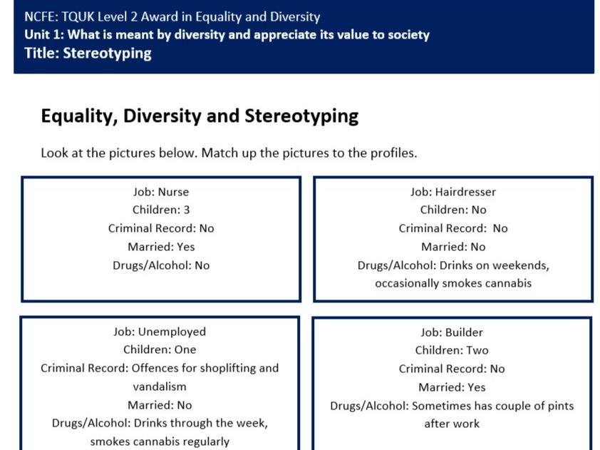 Stereotyping Lesson Worksheet