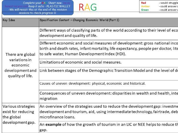 GCSE Geography AQA Changing Economic World (Part1) Revision Lesson - Exam Qs included.