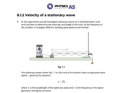AS Physics 9702 - Practical - 08.1.2 Velocity of a stationary wave