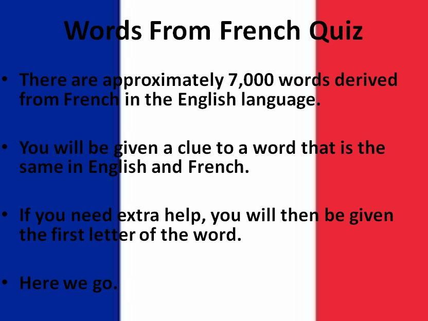 Words from French Quiz
