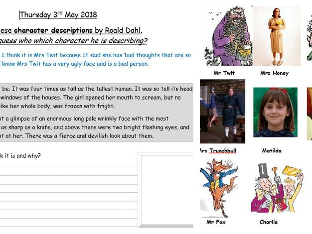 Year 2 Evidencing Reading - solve the Roald Dahl character descriptions - Greater Depth Reading
