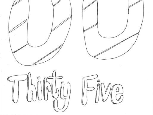 Thirty Five:  Numbers (with word): Colouring Page