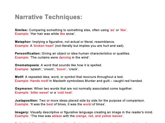 Narrative Techniques List - KS3/4/5