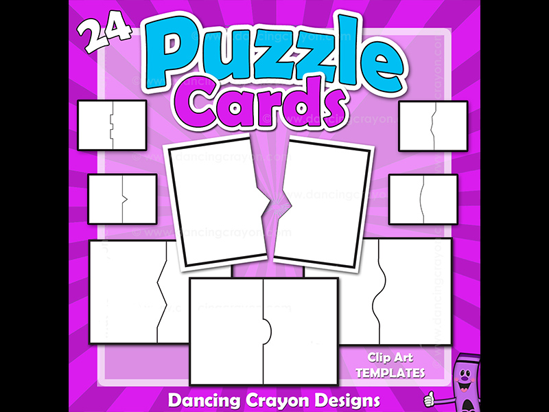Clip Art Puzzle Cards - Blank Jigsaw / Puzzle Clipart