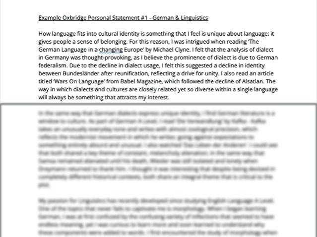 Example Oxbridge Personal Statement