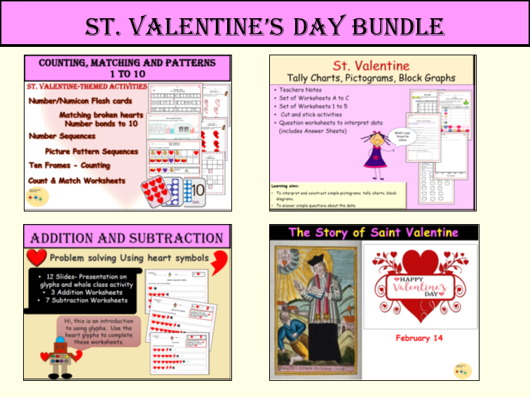 St Valentines Addition/Subtraction, Counting, Matching, Patterns/Sequences, Interpreting Data, Pictograms, Tally Charts and Block Graphs,Assembly/Lesson Presentation  Bundle