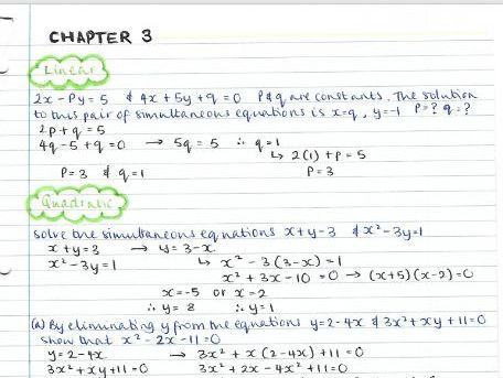 AS Pure Maths notes- Chapter 3 (Equations & Inequalities)