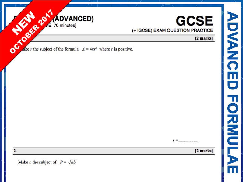 GCSE 9-1 Exam Question Practice (Advanced Formulae)