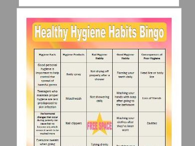 Healthy Hygiene Habits Bingo