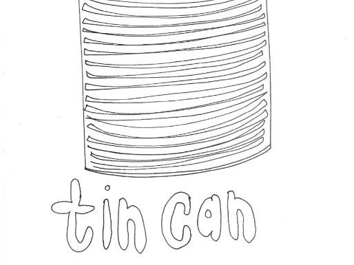 Tin Can :Recycling and Materials Colouring Page