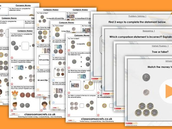 Year 2 Compare Money Autumn Block 3 Step 6 Maths Lesson Pack