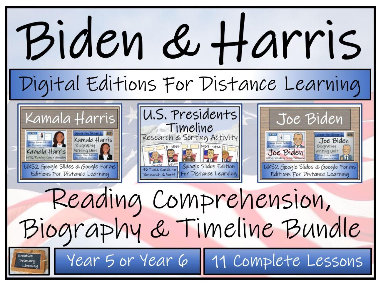 UKS2 Biden & Harris Digital Reading Comprehension, Biography & Timeline Bundle