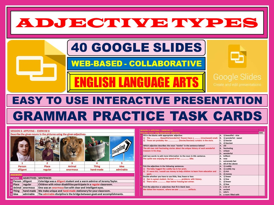 ADJECTIVE TYPES: 40 GOOGLE SLIDES