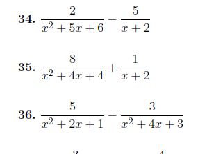 Adding and subtracting algebraic fractions worksheet (with detailed solutions)