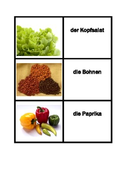 Obst und Gemüse (Fruits and Vegetables in German) Concentration games